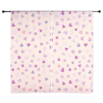 "Pink Hearts 60"" Curtains> Love, Romance, Hearts> Strawberry and Hearts"