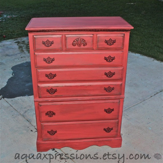 Red ochre vintage chest chocolate glaze from for Chocolate brown bedroom furniture