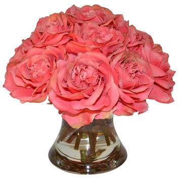 12 Roses In Flared Vase Faux Vases