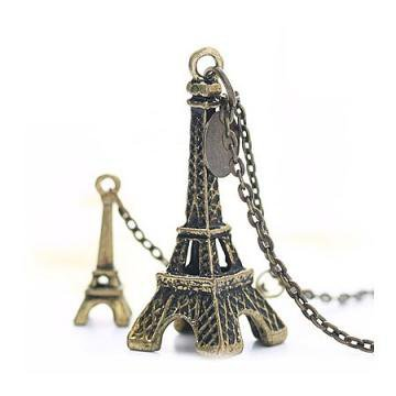 Vintage Eiffel Tower Pendant Necklace by Hallomall on Zibbet