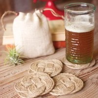 Set of Four Woven Knot Coasters with Cotton Bag \ Natural