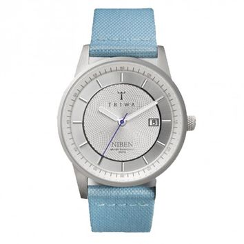 Triwa Sky Blue Canvas Stirling Niben Wrist Watch