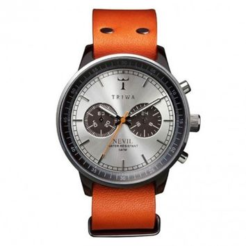 Triwa Nevil Havana Orange Leather Band Wrist Watch