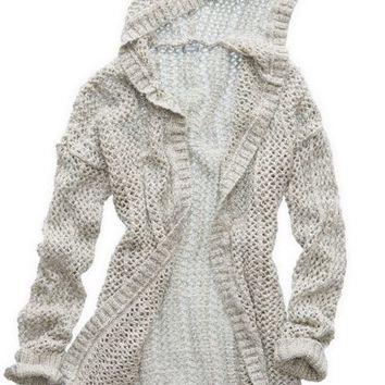 Aerie Womenx27s Hooded Cardigan Heather Frost