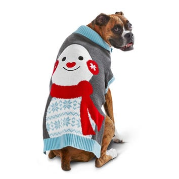 Petco Holiday Gray   Blue Snowman Dog Sweater