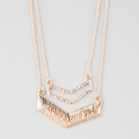 Full Tilt 2 Row Chevron Necklace Gold One Size For Women 25120162101