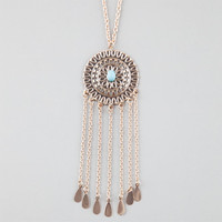 Full Tilt Medallion Fringe Necklace Gold One Size For Women 25177962101