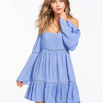 Socialite Cold Shoulder Dress Periwinkle  In Sizes