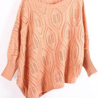Asymmetric Bat Sleeve Orange Sweater$39.00