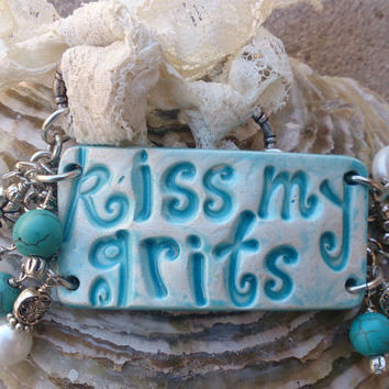 Kiss My Grits Turquoise Pearl Ceramic Pottery Cuff Bracelet Southern Westerrn Cowgirl Jewelry