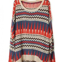 Geometric pattern round neck Bat-sleeved Blue sweater$42.00