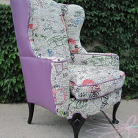 Vintage Reupholstered Wing Back Graffiti Chair