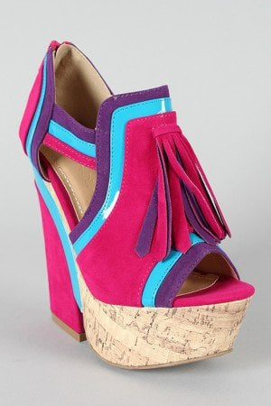 Liliana Bohe-5 Colorblock Tassel Platform Wedge