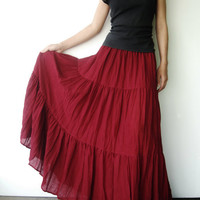 NO.5 Burgundy Cotton, Hippie Gypsy Boho Tiered Long Peasant Skirt