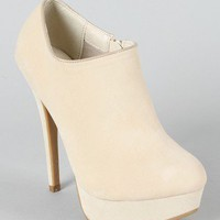 Yasmine-08 Velvet Round Toe Ankle Bootie