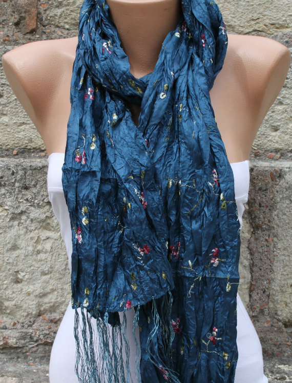 Blue Shawl Scarf -  Cowl Scarf - fatwoman bridesmaid gift