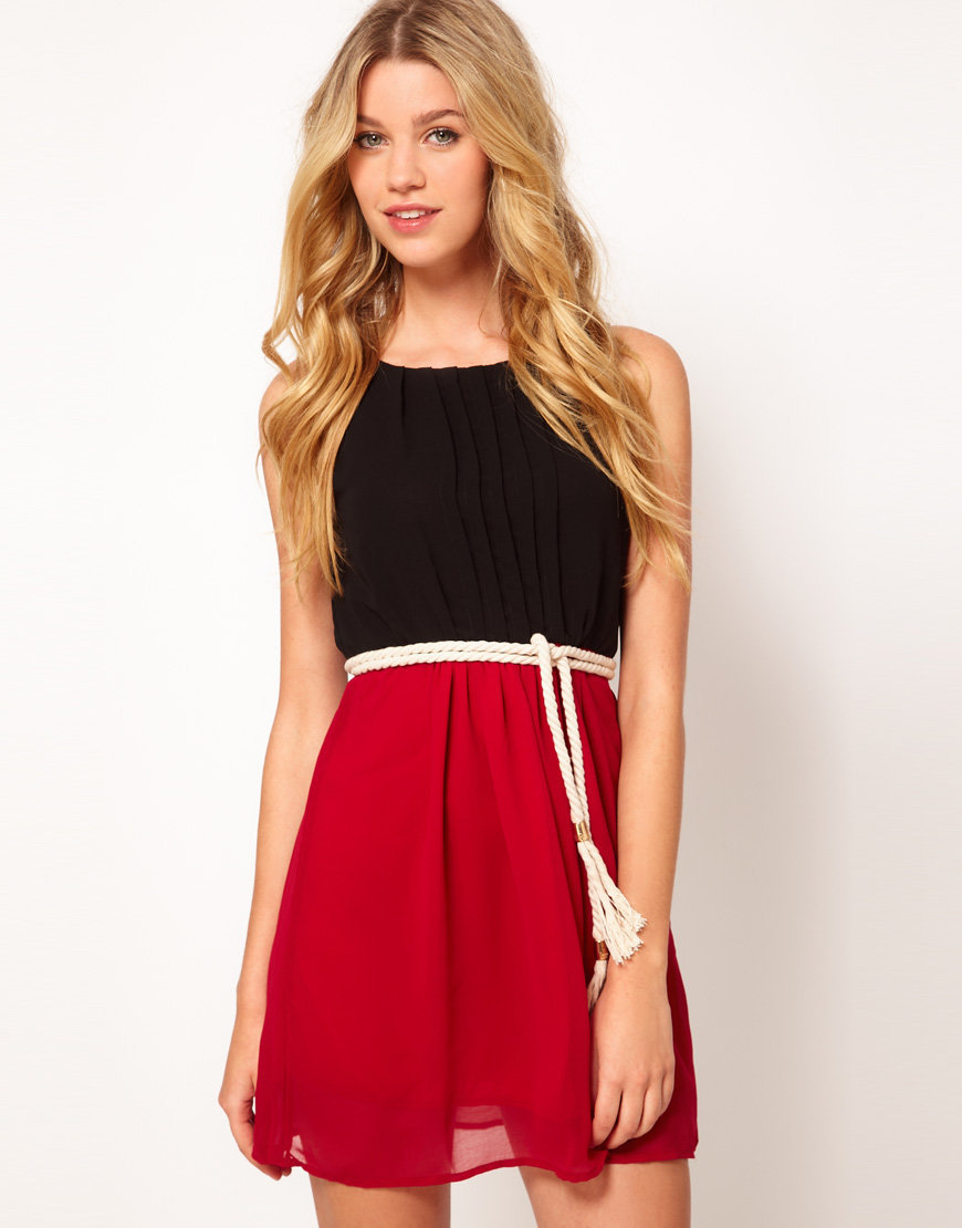 Club L Colourblock Dress With Rope Belt at asos.com