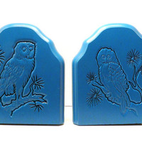 vintage wood owl bookends, fall, autumn  //  upcycled, woodland, owls, mod, rustic, blue, teal, desk, home accents