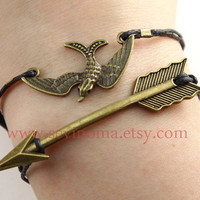 The Hunger Games, Katniss Bow bracelet and small Mockingjay wax cords bracelet