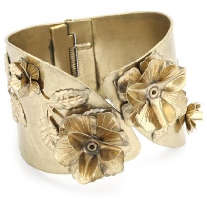 RAIN Vintage Inspired Gold Flower Cuff Bracelet - designer shoes, handbags, jewelry, watches, and fashion accessories | endless.com