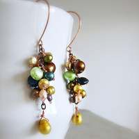 Autumn Freshwater Pearl Cascade Earrings - Copper Wire Wrapped Dangles