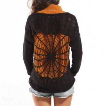 Spiderweb Back Sweater in Black