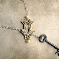 $100 Antique Key Hole and Skeleton Key Lariat Necklace — The Lost At E Minor store