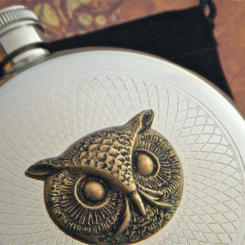 Round Owl Flask Silver & Brass Gothic Victorian Steampunk Vintage Style Reproduction Halloween Flask
