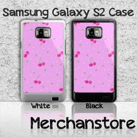 Baby Pink Polkadots with Cherries Samsung Galaxy S2 Case