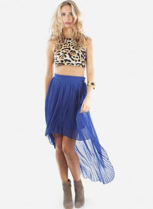 Cobalt Blue Hi Low Accordion Pleat Skirt