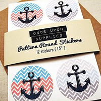 Chevron Anchor Round Stickers 1.5″ Nautical Theme