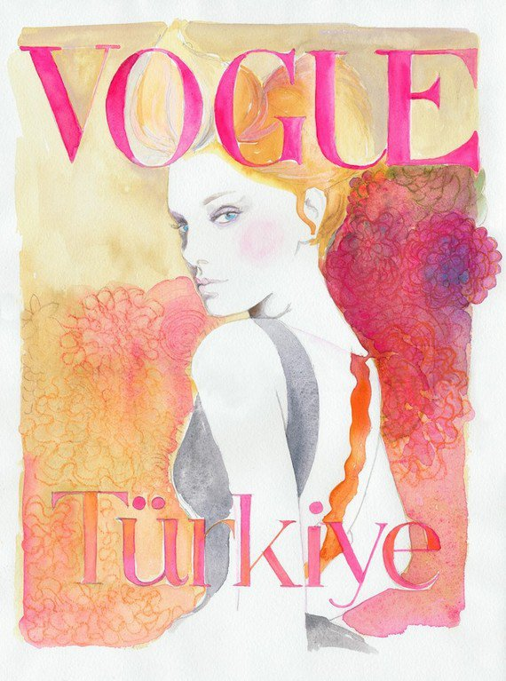 Watercolor Fashion Illustration Print  Vogue by silverridgestudio