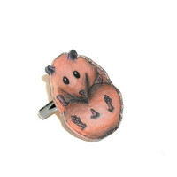 Hamster Ring, Animal, Shrinky Dinks Jewelry, Plastic, Jewellery, Kawaii, Cute, Adjustable, Art, Illustration, Handmade, Accessory