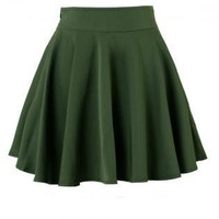 Green Skater High Waist Skirt