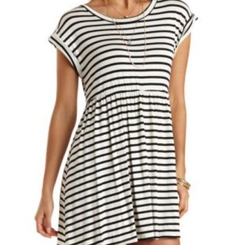 Striped Babydoll Dress by Charlotte Russe  White Combo