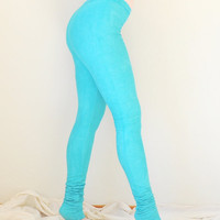 Hand Dyed Leggings in Stretch Cotton Knit - Extra Long Leggings - Dyed Tights - Acid Wash Leggings - Faux Velvet - Sizes XS, S, M, L, XL