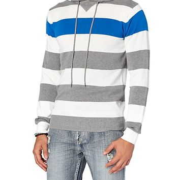 Grey   Blue Striped Pullover Sweater