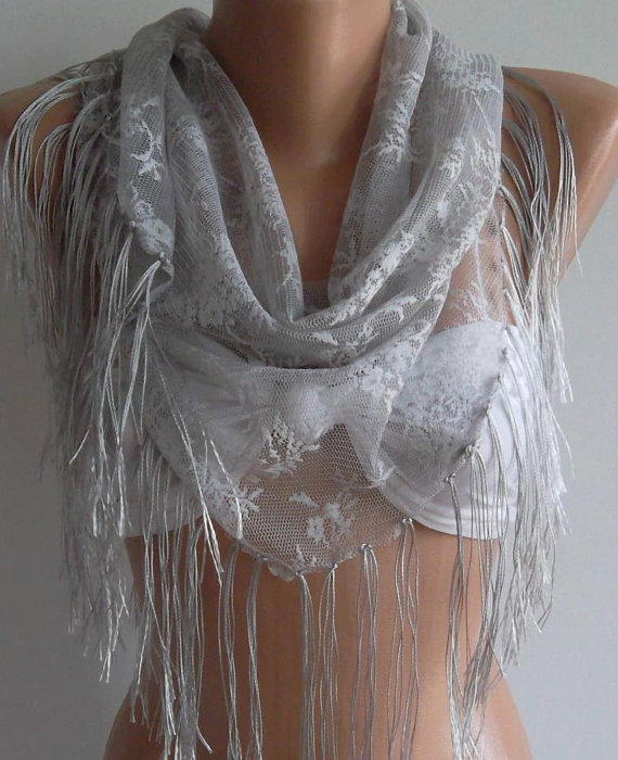 Grey / lace and Elegance Scarf