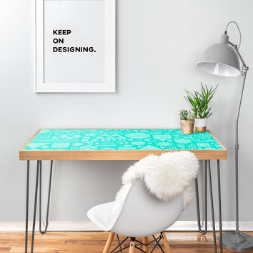 "Nick Nelson Modern Elements In Turquoise Desk - 47"" x 23"""