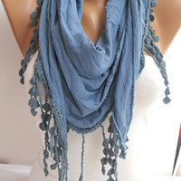 Blue Elegance Shawl/Scarf with Lacy Edge