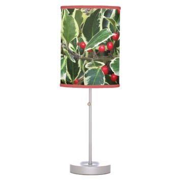 Holly Berry Christmas Holiday Table Lamp