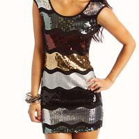 sequin-wave-mini-dress BLACKGOLD - GoJane.com