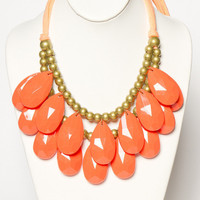 Ruffled Statement Necklace in Coral | a-thread