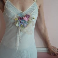 Powder Blue Vintage Slip with Flower Decorations