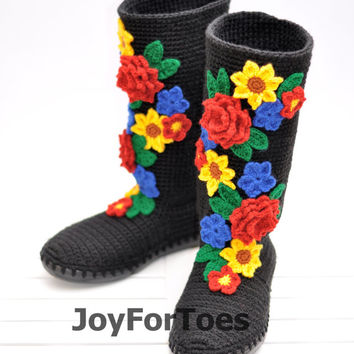 Crochet Boots for the Street Folk Tribal Boots Boho Boots Made to Order Pavlov Posad Black