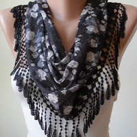 New- Black and Grey Flowered Scarf with Black Trim Edge