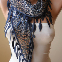 New -  Dark Blue - Brown Leopard Scarf with Dark Blue Trim Edge