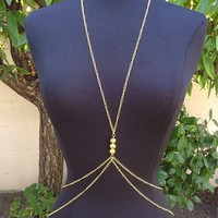 Gold Body Chain Piece Jewelry Harness Necklace Belly