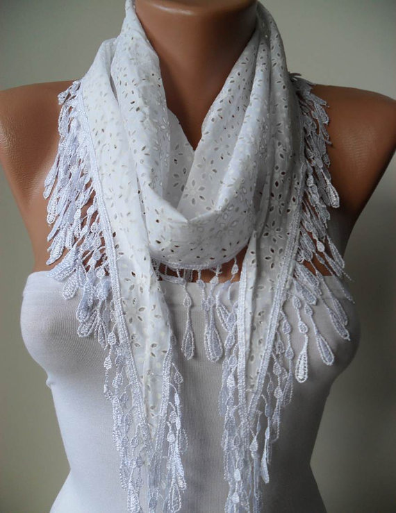 White and Cotton Perforated Fabric Summer Scarf - White Cotton Scarf with White Trim Edge - Summer Collection