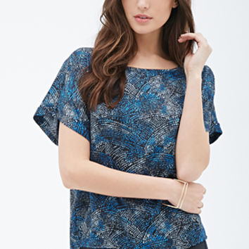 Abstract Printed Sateen Blouse